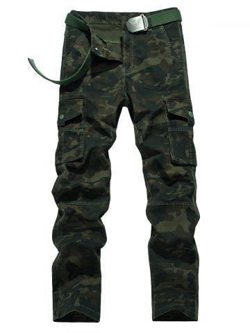 Chic Plus Size Zipper Fly Camouflage Button Flap Pockets Design Cargo Pants