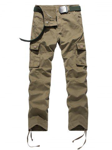 Online Plus Size Zipper Fly Pockets Design Drawstring Cargo Pants