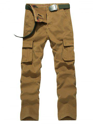 Fashion Plus Size Straight Leg Embroidery Pockets Design Cargo Pants