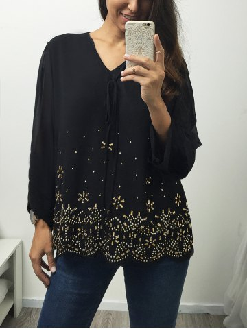 Shop V Neck Long Sleeve Rhinestone Blouse - L BLACK Mobile