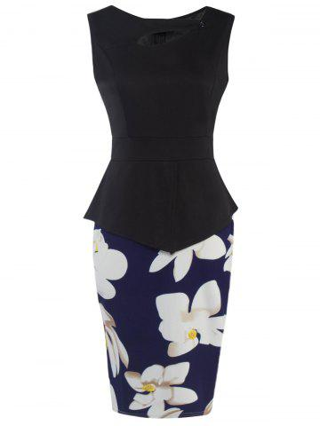 Best Flower Patched Bodycon Dress BLUE AND BLACK 2XL