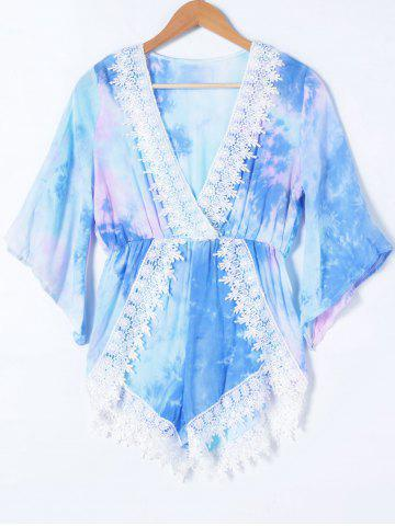 New V Neck Tie-Dye Lace Splicing Romper