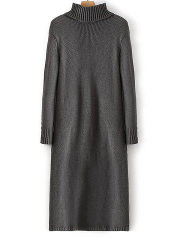 Outfits Ribbed Turtleneck Long Sleeve Sweater Dress