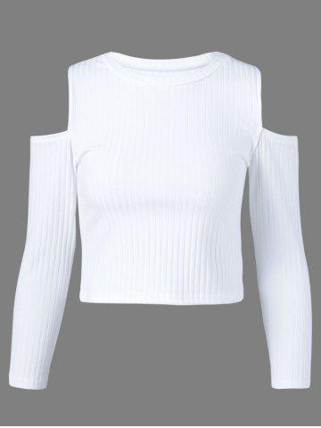 Online Cold Shoulder Plain Cropped Sweater WHITE XL