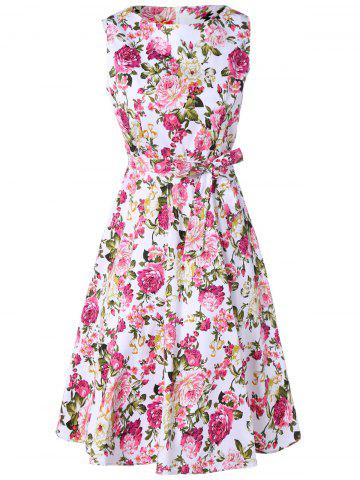 Outfits Retro Floral Printed Sleeveless Pleated A Line Dress