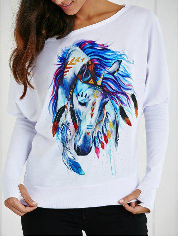 Fashion Skew Collar Cartoon Horse Print T-Shirt WHITE XL