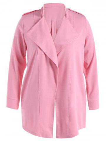 Stand Collar Waterfall Coat With Epaulet - PINK - XL