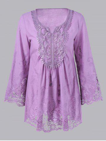 Fashion Lace Splicing Long Sleeve Peasant Blouse LIGHT PURPLE S