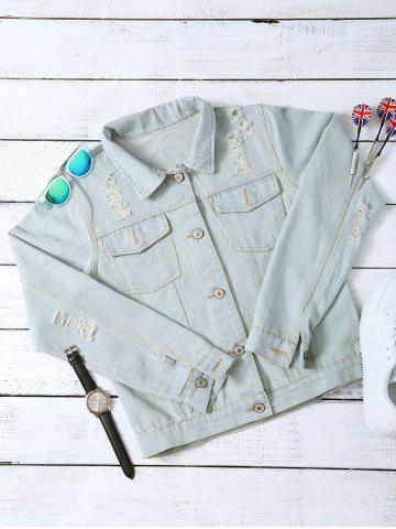 Outfits Wash Bleach Letter Pattern Ripped Jacket
