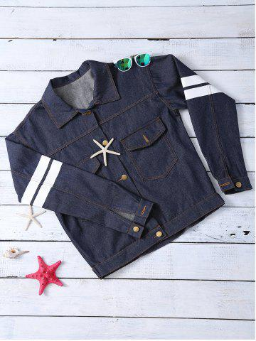 Unique Letter Pattern Striped Loose-Fitted Jacket