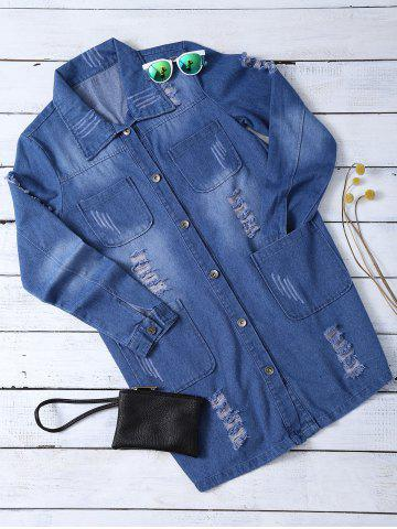 Affordable Ripped Four Pockets Denim Shirt - 3XL BLUE Mobile