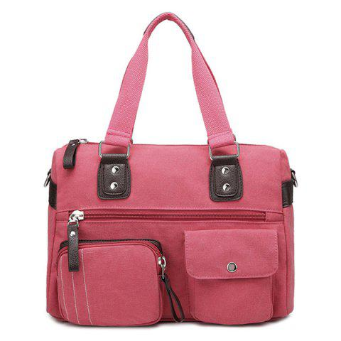 Affordable Canvas Double Pocket Zippers Shoulder Bag