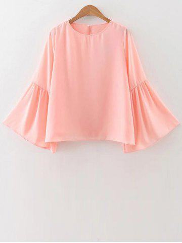 Outfit Jewel Neck Flare Sleeve Loose Chiffon Blouse