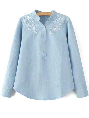 Fancy Stand Neck Long Sleeve Floral Embroidered Shirt