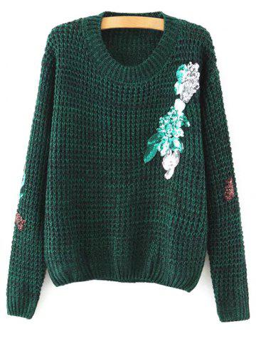 Online Round Neck Long Sleeve Sequins Sweater