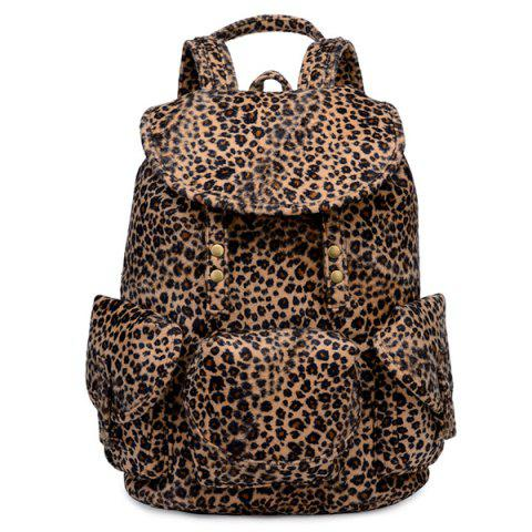Shops Drawstring Leopard Printed Metal Backpack