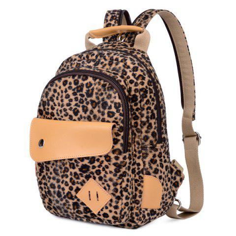 Discount Leopard Printed Zippers PU Leather Backpack