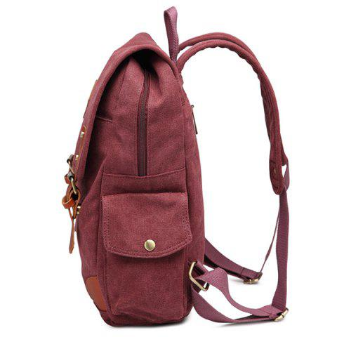 Sale Double Buckle Canvas Colour Block Backpack - CLARET  Mobile