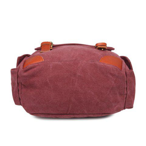 Latest Double Buckle Canvas Colour Block Backpack - CLARET  Mobile
