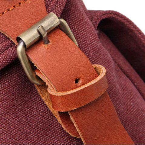 Hot Double Buckle Canvas Colour Block Backpack - CLARET  Mobile