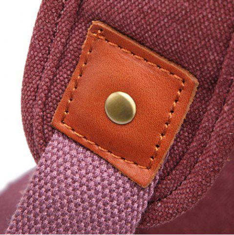 Fashion Double Buckle Canvas Colour Block Backpack - CLARET  Mobile