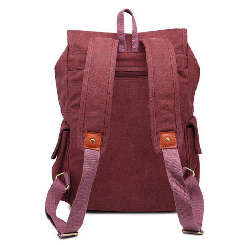 Online Double Buckle Canvas Colour Block Backpack - CLARET  Mobile