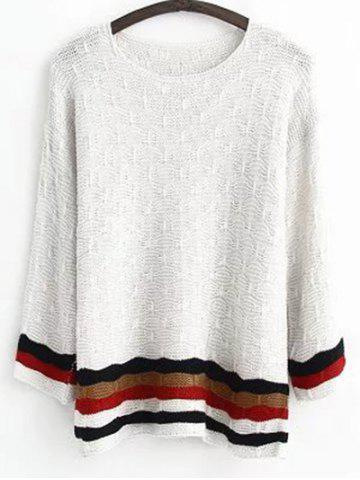 Chic Round Neck Long Sleeve Jacquard Striped Sweater