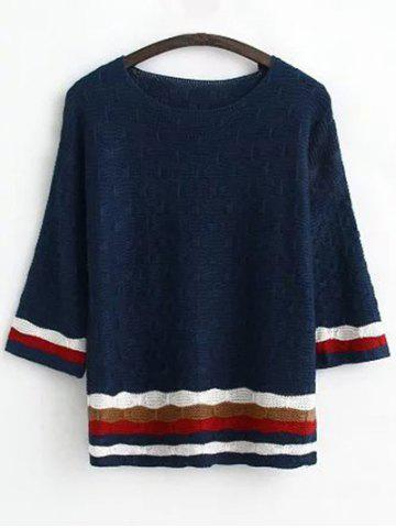 Outfits Round Neck Long Sleeve Jacquard Striped Sweater