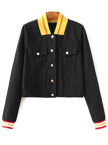 Trendy Stand Neck Long Sleeve Color Block Jacket