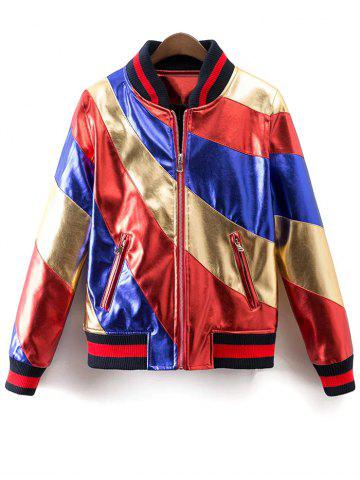 Fashion Stand Neck Color Block Bomber Jacket