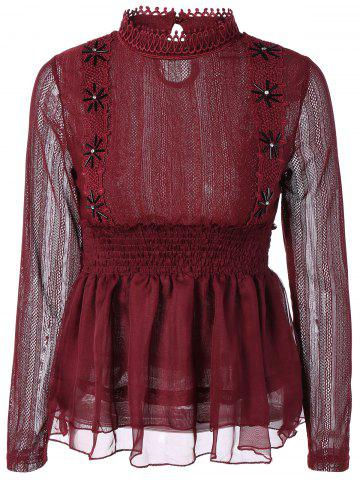 Unique Beaded Lace Splicing Peplum Blouse WINE RED 2XL