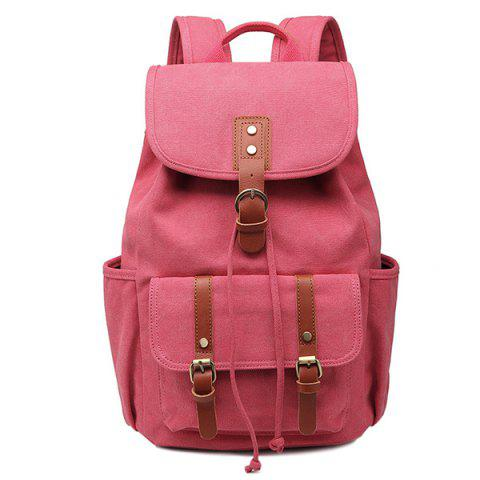 Fancy Drawstring Buckles Canvas Backpack