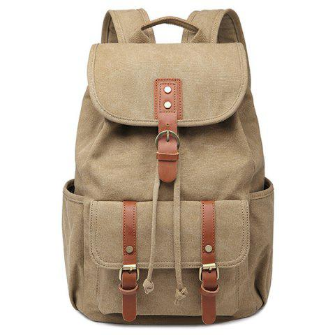 Buy Drawstring Buckles Canvas Backpack KHAKI