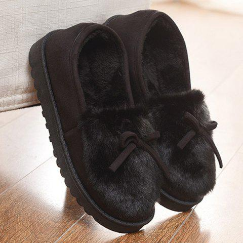 New Suede Bow Faux Fur Slippers BLACK 37