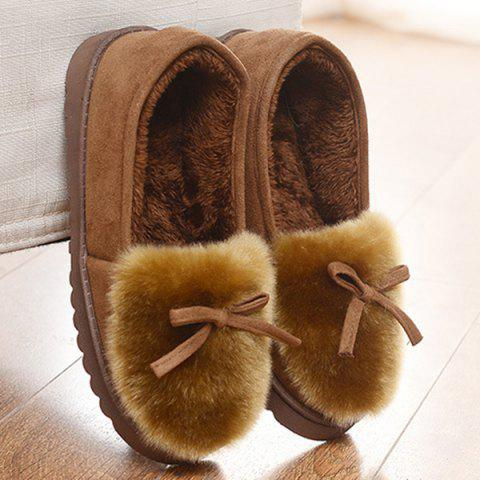 Outfit Suede Bow Faux Fur Slippers