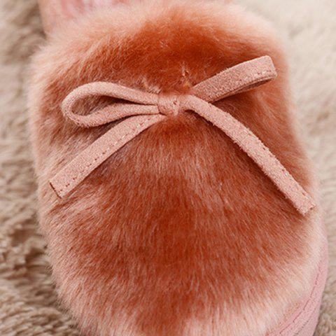 Online Suede Bow Faux Fur Slippers - COFFEE 40 Mobile