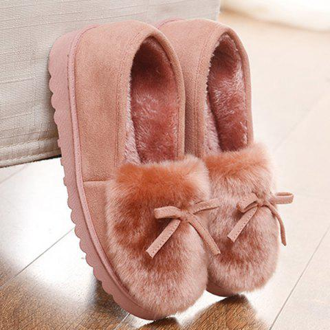 Chic Suede Bow Faux Fur Slippers - LIGHT PINK 40 Mobile
