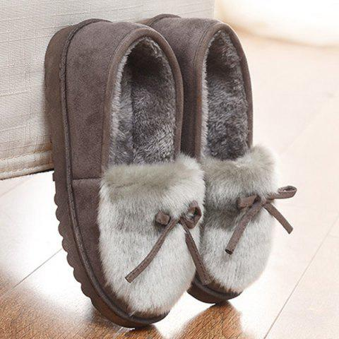 Outfits Suede Bow Faux Fur Slippers - GRAY 38 Mobile