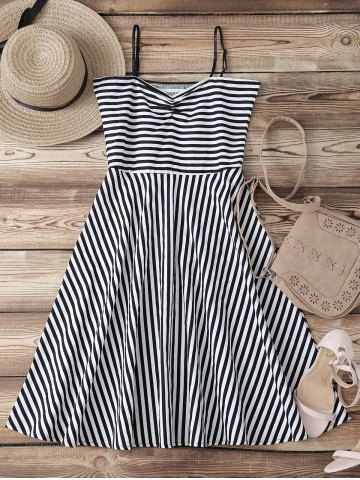 Outfits Retro Sweetheart Neck Stripe Backless Flare Dress STRIPE XL