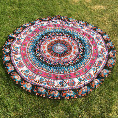 Fancy Ethnic Paisley and Elephant Print Chiffon Round Beach Throw