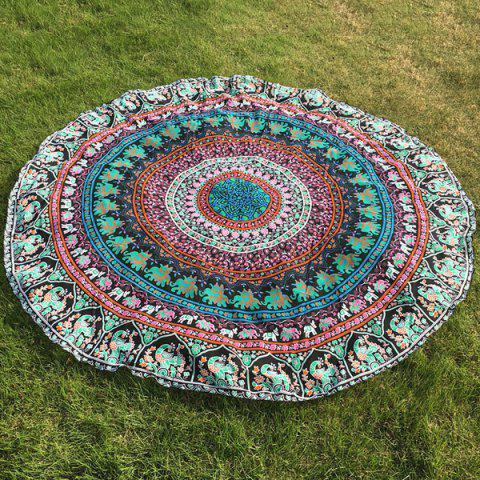 Ethnic Paisley and Elephant Print Chiffon Round Beach Throw - Light Green - One Size(fit Size Xs To M)