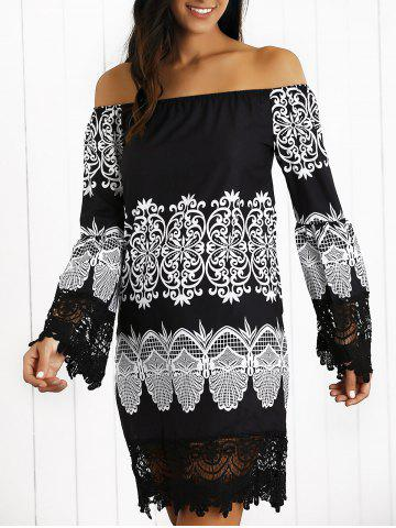 Discount Off-The-Shoulder Laciness Paisley Casual Dress BLACK XL
