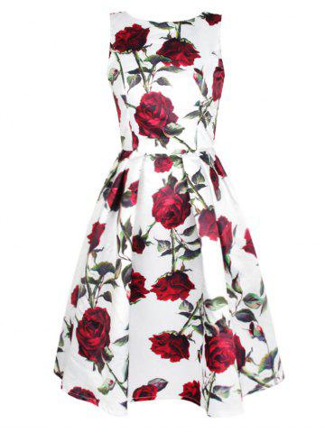 Online Sleeveless Rose Print Swing Dress