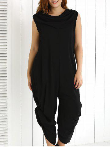 Shops Plus Size Cowl Neck Ruched Plain Jumpsuit