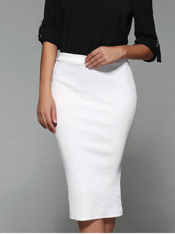 Latest High Waist Sheathy Midi Skirt - S WHITE Mobile