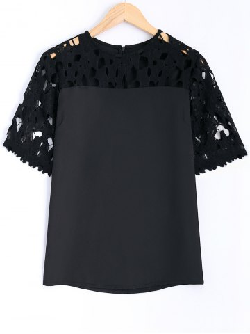 Guipure Lace Splicing Openwork Blouse - Black - 5xl