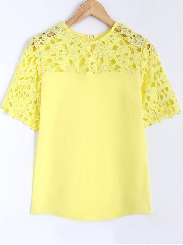Buy Guipure Lace Splicing Openwork Blouse