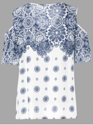 Fashion Floral Cold Shoulder T-Shirt - XL BLUE AND WHITE Mobile