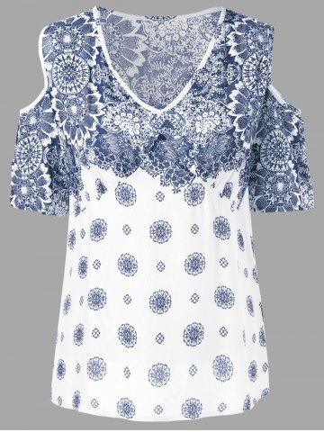 Affordable Floral Cold Shoulder T-Shirt BLUE AND WHITE 2XL