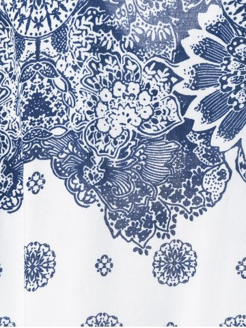 Cheap Floral Cold Shoulder T-Shirt - 2XL BLUE AND WHITE Mobile